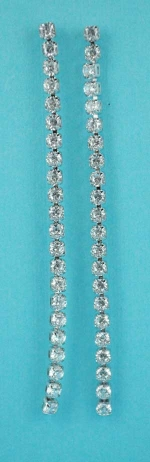 "Cubic Zirconia/Silver 1 Row Small Round Stone 3"" Post Earring"