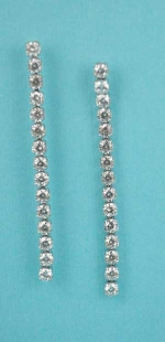 """Cubic Zirconia/Silver One Row Small Round Stone 2"""" Post Earring"""