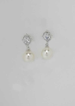 Cubic Zirconia/Pearl Top Oval Bottom Round Pearl Earring