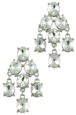 Clear/Silver Glass Stone Chandelier Earring