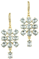 Clear/Gold Oval Stone with Oval Dangles Earring