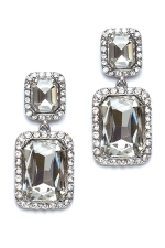 Clear/Silver Double Square Earring