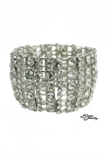 Silver/Clear Curved Crystal Stretch Bracelet