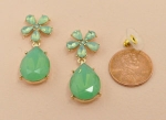 Green Gold Moonstone Flower Post Earring