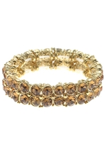 Light Colorado/Gold Crystal 2 Row Stretch Bracelet