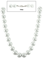 "12MM 18"" White Pearl/Silver Necklace"