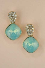 Mint chrystolite/ Gold Radiant Stone Dangle With Rhinestone Cluster Post Earring