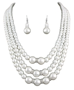 White Pearl/Crystal/Silver 3 Row Pearl Set