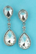 "Clear/Silver Two Linked Pear Stone 1.7"" Earring"