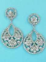 "Clear/Silver Double Round Shape 2.5"" Earring"