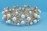 Pearl/Clear Gold Branch Stretch Bracelet