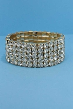 Clear/Gold Five Row Stretch Bracelet