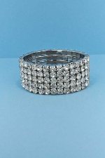 Clear/Silver Five Rows Stretch Bracelet