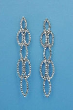 "Clear/Silver Linked Marquise Shape 3"" Post Earring"
