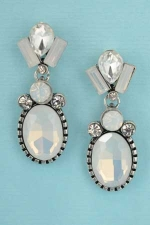 "Opal/Clear Silver 1.3"" Oval Mirror Shape Earring"