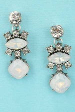 "White Opal/Clear Silver 1"" Three Stones Post Dangle Earring"