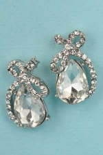 "Clear Silver Lace/Pear Stone 1"" Post Earring"