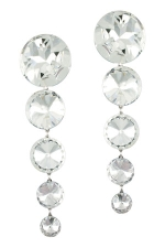 Clear Silver 5 Graduated Rivolis Earring