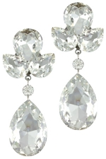 Clear Silver Cluster Top + Teardrop Dangle Earring