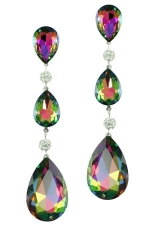 Vitrail Medium/Silver 3 Graduated Teardrops Earring