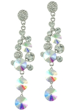 AB/Clear/Silver Round Stone Cluster Drop Earring