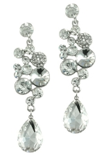 Clear/Silver Cluster Top with Teardrop Earring