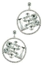 Clear Silver with Floating Stones Earring
