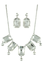 Clear Silver Emerald Cut Bubble Set