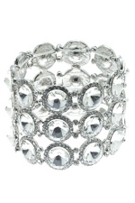 Clear Silver 3 Row Rivoli Stretchy Bracelet