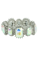 AB/Clear/Silver Multi-Rectangle Stretchy Bracelet