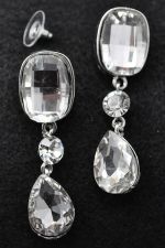 Clear Silver Large Emerald Cut With Pear Cut Dangle Post Earring