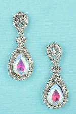 AB/Clear Silver Small Pear Cut Post Earring