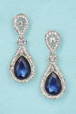 Blue/S Small Pear Cut Post Earring