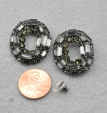 Black Diamond/ Hematite Layered Cluster Round Shape Post Earring