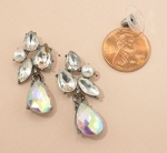 AB Clear Hematite Pear Cut Post Earring With Cluster