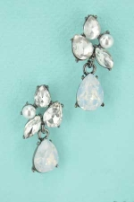 White Opal Clear Hematite Pear Cut Post Earring