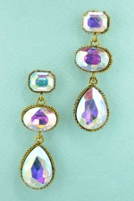 AB Antique Gold Tri Stone Dangle Post Earring