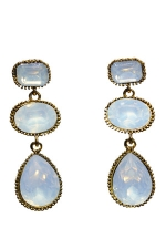 Opal/Antique Gold Tri Stone Dangle Post Earring