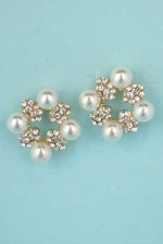 """Pearl/Clear Gold Four Pearls 0.8"""" Earring"""