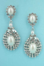 "Pearl/Clear Silver Framed Middle Pear 1.5"" Post Earring"