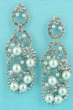 "Pearl/Clear Silver Small/Medium Pearls 2.6"" Earring"