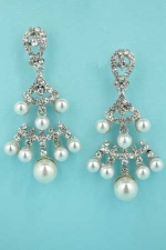 "Pearl/Clear Silver 2 Row Big/Medium Pearls 2"" Earring"