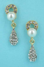 "Pearl/Clear Gold Circle/Tear Drop 1.2"" Post Earring"