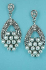 Pearl/Clear Silver Multiple Pearls 3 Row Round Stone Post Earring