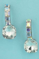 "Aurora Borealis/Clear Silver Single Radiant Stone C Shape 1"" Post Earring"