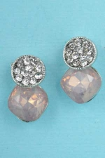 "Light Peach/Clear Silver Two Balls Round Stone 0.7"" Post earring"