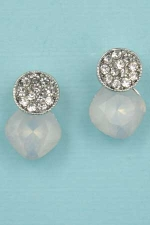 "Opal/Clear Silver Two Balls Round Stone 0.7"" Post earring"