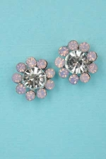 "Lt.Rose/Clear Silver Flower Shape 0.5"" Post Earring"