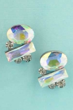 "Aurora Borealis/Clear Silver Medium/Small Stones 0.8"" Post Earring"