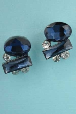 "Montana Navy/Clear Silver Medium/Small Stones 0.8"" Post Earring"